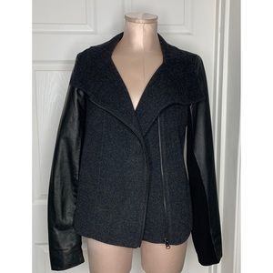 Vince Funnel Neck Jacket Wool w/ Leather Sleeves L